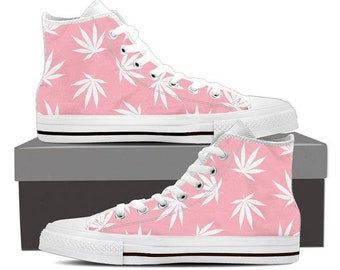 sports shoes 65b22 6be7d Dank Master Weed Leaf Men s High Top Canvas Shoes - Pink