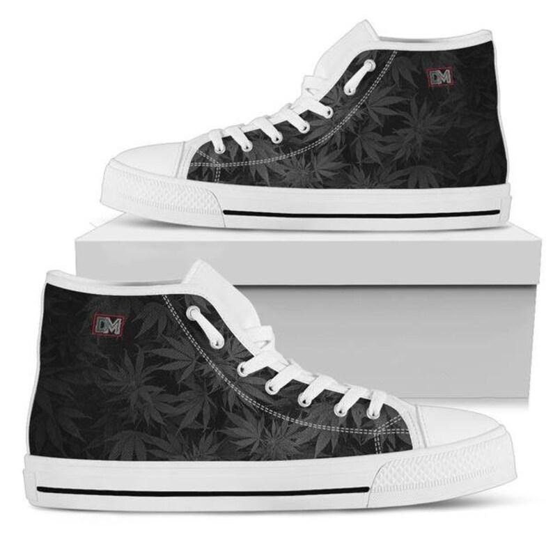 fdcbe00cb44f8 Dank Master OG Black Weed Leaf Men's High Top Canvas Shoes | Etsy