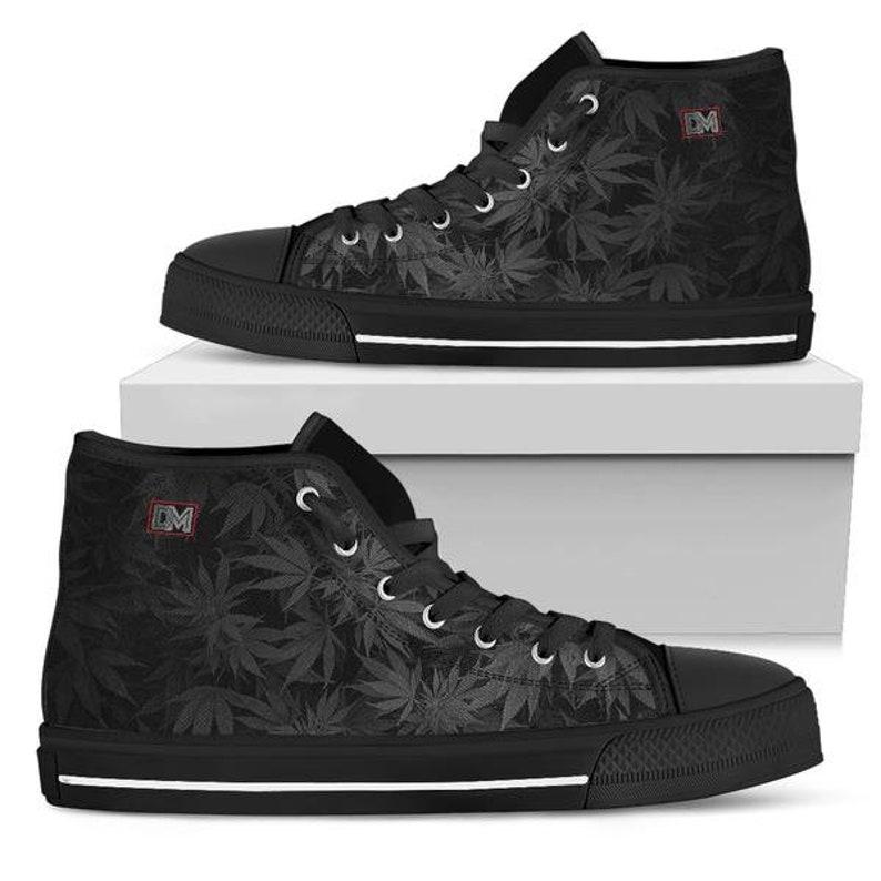 c1f52cb559935 Dank Master OG Black Weed Leaf High Top Men's Canvas Shoes | Etsy