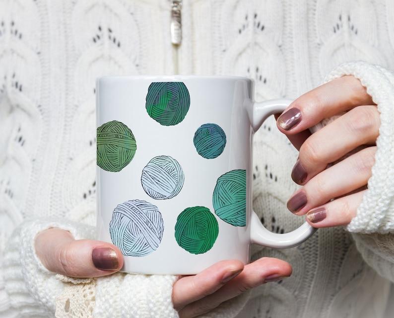 Balls of Yarn  Ceramic Mug for Knitters Crocheters and Yarn image 0