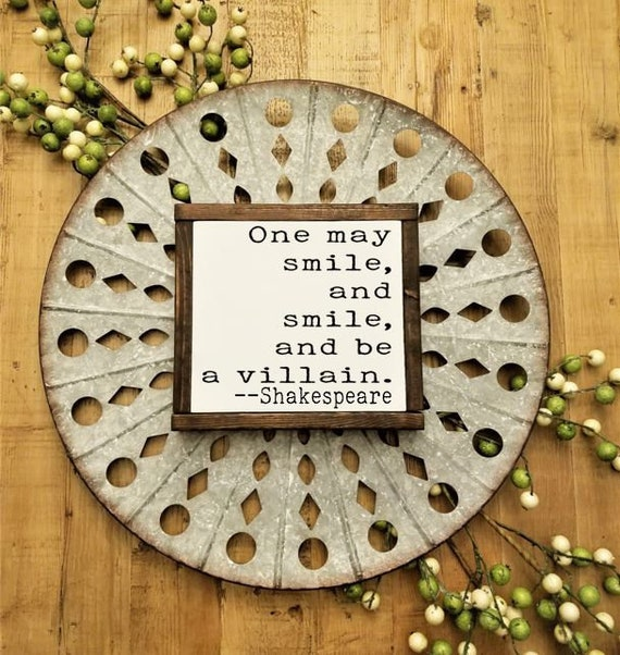 william shakespeare framed quote sign villain quotes