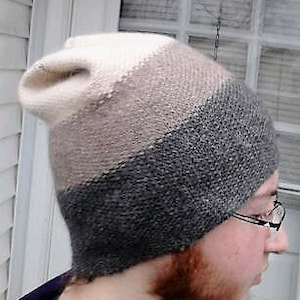 Adult unisex hand knitted graphite super chunky merino wool cable hat
