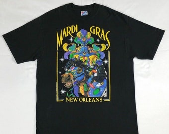 Vintage 90s Mardi Gras New Orleans Hanes T-shirt size Large