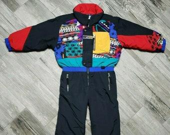 d4e4b281895ada Vintage Obermeyer Ski Snow Suit Youth size 5 Reversible One Piece Ski Suit