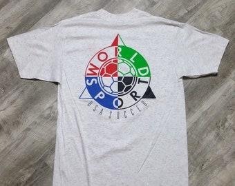 e54335726 Vintage 90s Red Card World Sport USA Soccer T-shirt size XL NWOT// Vintage  Tee