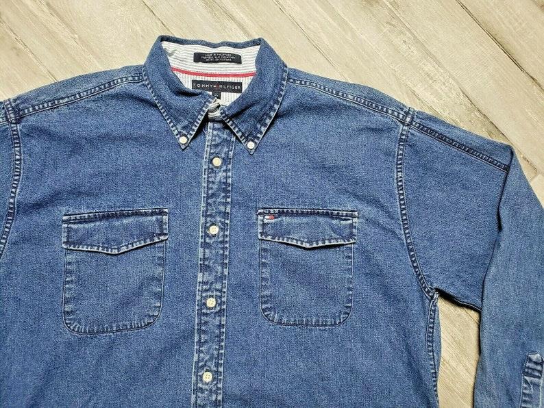 Vintage Tommy Hilfiger Denim Shirt Long Sleeve Men/'s size Large