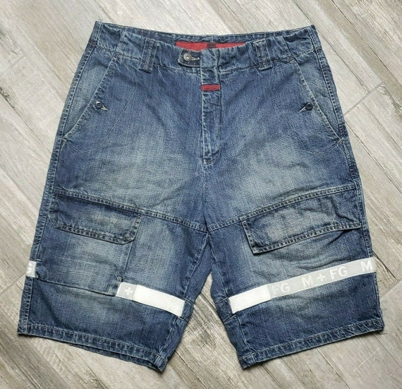 Marithe Francois Girbaud Weiß Shuttle Tape Denim Shorts Herren 36 Blau