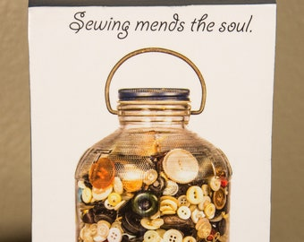 Sewing mends the soul photo on decorative wood block shelf sitter - 5018
