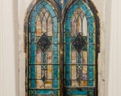 Beautiful Blue Stained Glass Window photo transferred onto decorative reclaimed wood 7.25x13.75 wall hanging 0070A