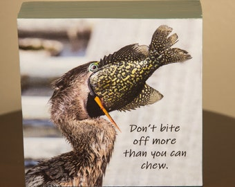 Don't bite off more than you can chew Anhinga photo on decorative wood block shelf sitter - 5019