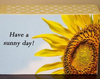 Sideways Sunflower decorative photo wooden block shelf sitter - 5002