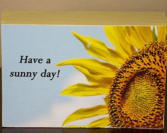 Sideways Sunflower without checkerboard trim decorative photo wood block shelf sitter - 5013