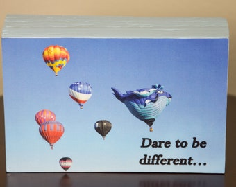 Dare to be different hot air balloon decorative photo wood block shelf sitter - 5010