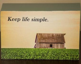 Keep life simple decorative photo wooden block shelf sitter - 5009