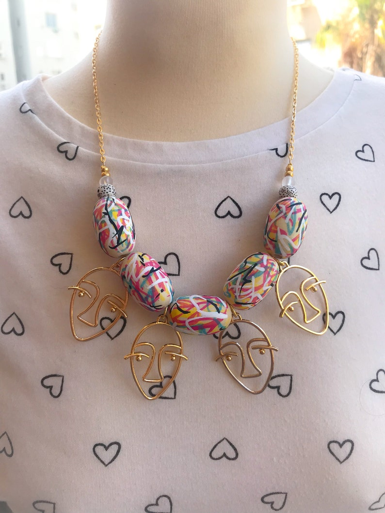 Pendant necklace Statement Necklace Chunky necklace Art necklace Colorful Jewelry Unique jewelry Colorful Necklace Graffiti necklace