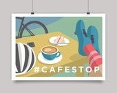 Cafe Stop Cycling Print