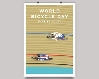World Bicycle Day 2020 - Track Cycling Velodrome Print