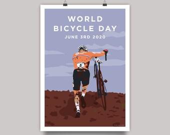 World Bicycle Day 2020 - Cyclocross Mathieu Van Der Poel Cycling Print