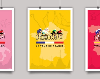 The Grand Tours - Set of 3 Cycling Prints