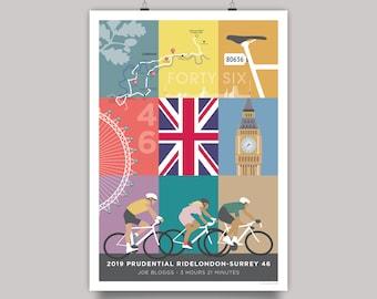 Prudential RideLondon 46 Personalised Souvenir Art Print