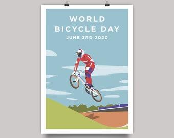 World Bicycle Day 2020 - BMX Supercross Cycling Print