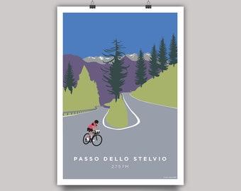 Passo Dello Stelvio Cycling Print. Round the Hairpin