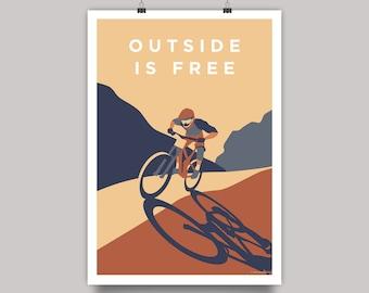 Outside is Free Mountain Bike Cycling Print