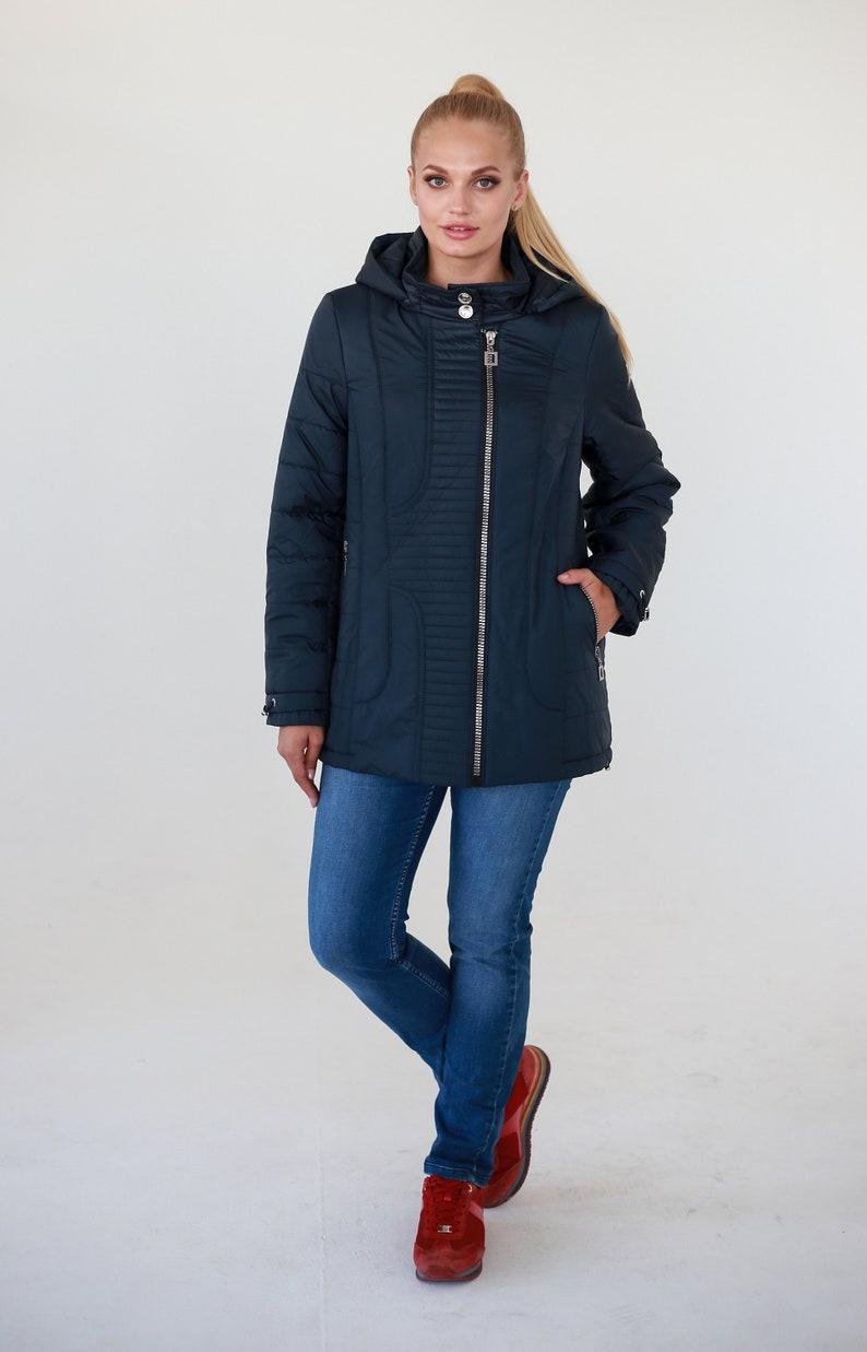 Bleu marine puffer bas bomber veste manteau taille matelassé  c35b6c67bf8