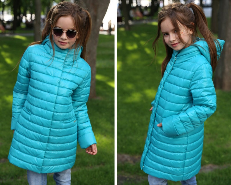 a055418f5c38 Turquoise long puffy coat for junior teen girl autumn spring