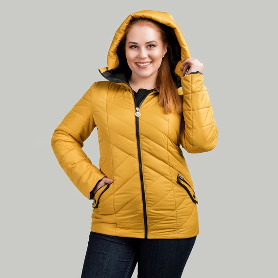 Yellow Puffer Plus Size Bomber Jacket Women Quilted Down Etsy