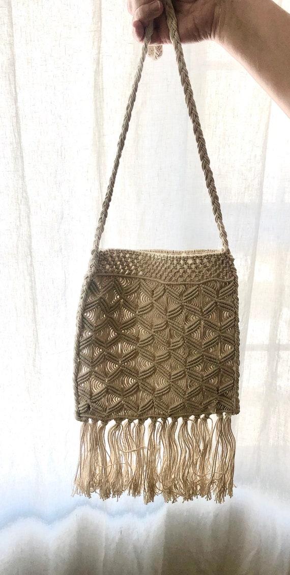NWOT Vintage 70s Macrame Shoulder Bag