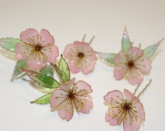 Pale Pink Cherry Blossom Flower Hair pins,Bridesmaid,Festival,Accessories,Party