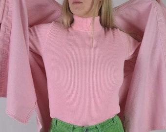 9d6e78714c Pink Ribbed Vintage Turtleneck   Bubblegum Pink Top   Vtg 60s Textured  Shirt - Womens Size Small