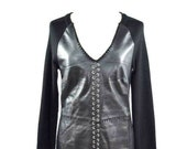 Vintage 90s Patchwork Leather Dress Goth Punk Black Lace Up Rib Knit Long Sleeve Sweater Dress Medium v-neck
