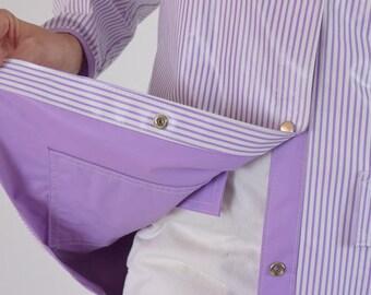 716aa04750e Reversible Rain Jacket Waterproof Lavender Striped Coat Snap Front     Pastel Purple Vinyl    Vintage 80s Size Medium