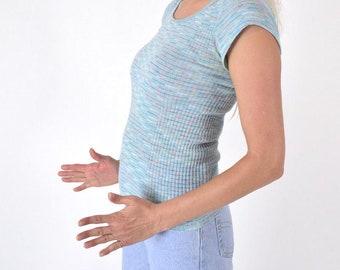 60528707c76 Striped Vintage T-Shirt Sporty 70s Pastel Blue Rainbow Tee    Ribbed Knit  Stripe Capped Sleeve Shirt    Tom Boy Top Womens Size Medium