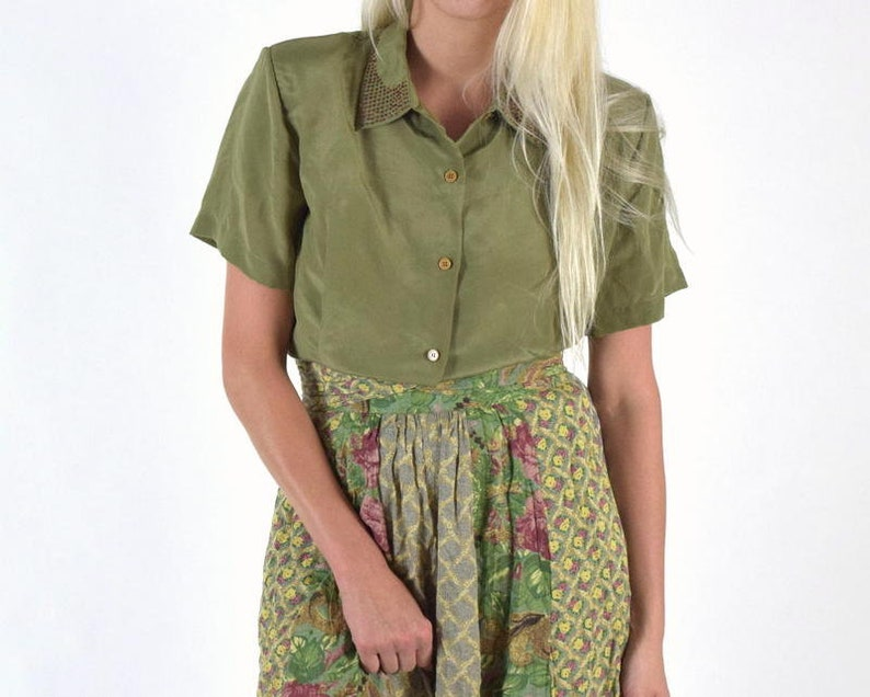 bc8192fe74945 Olive Green Silk Blouse 70s Vintage Short Sleeve Button Down