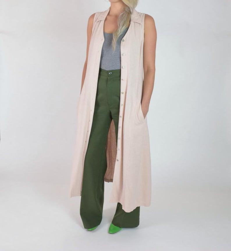 f942255d0fac03 Raw Silk Maxi Dress Sleeveless Button Down Front Pale Pink