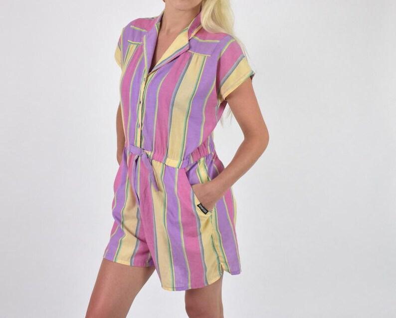 1bbc7affd88 Cotton Jumpsuit Vintage 80s Polycotton Tomboy Striped Romper
