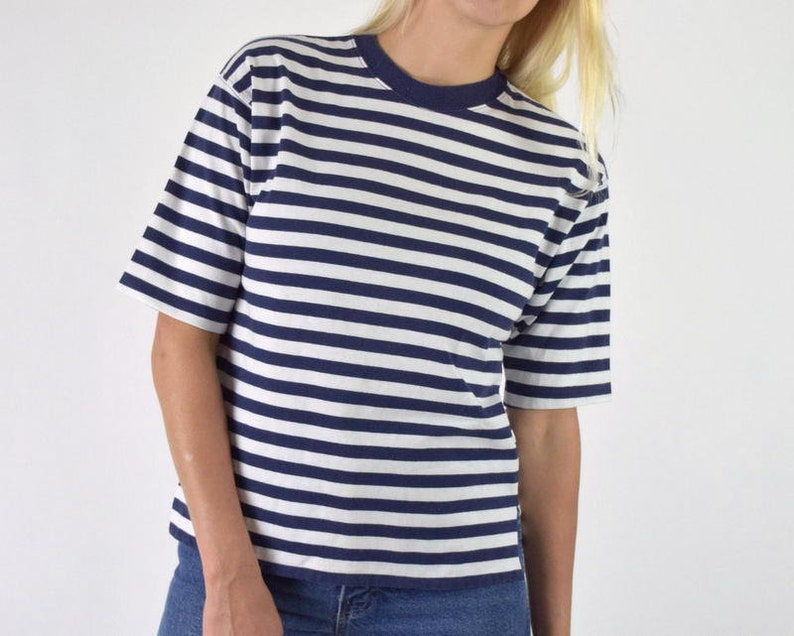 a175684a77f Striped T-shirt Vintage Nautical Blue   White Horizontal