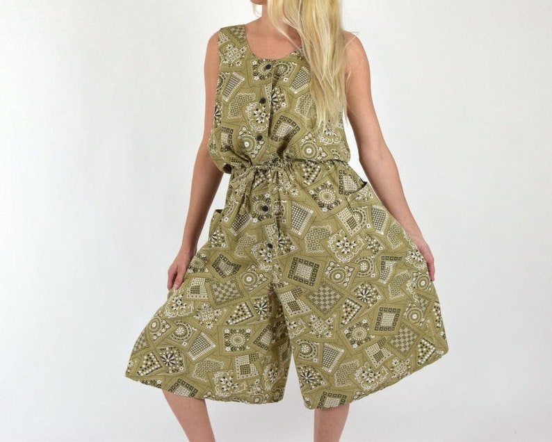 d0508e424e83 Cotton Jumpsuit Green Bandana Print Wide Leg Pants    Casual