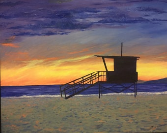 Santa Monica beach sunset life guard tower oil painting