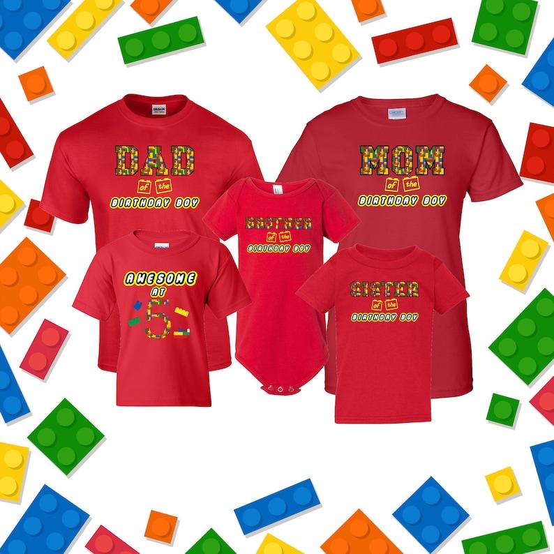 Building Block Birthday Shirt Family Birthday Shirts Custom image 0