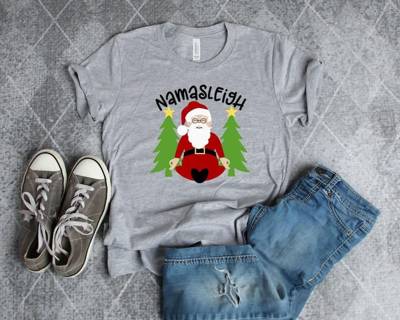 0f5572bbc Namasleigh Yoga Christmas Tshirt Funny Yoga T-shirt Yoga Santa | Etsy