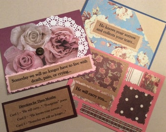 Footprints - Set of 3 Blank Cards - Grief