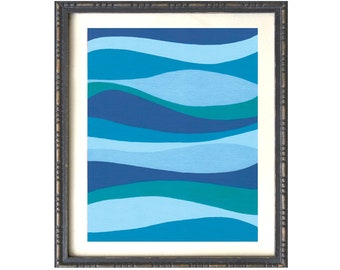 PRINT, modern art abstract blue waves, ocean currents, relaxing blue artwork, peaceful blue art, beach house decor, minimalist seascape
