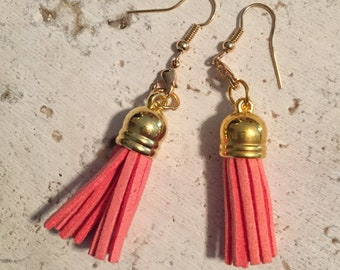 Coral Leather Fringe Earrings