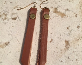 Brown Leather Strip Earrings