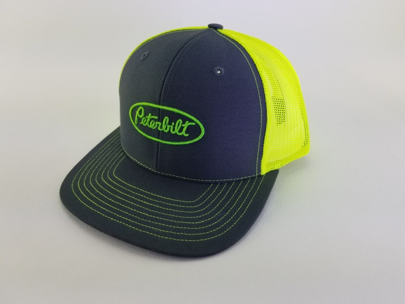 Peterbilt hat, peterbilt truck gifts, peterbilt, trucker hat, peterbilt  semi truck, peterbilt gift, embroidery hats, Richardson, neon yellow