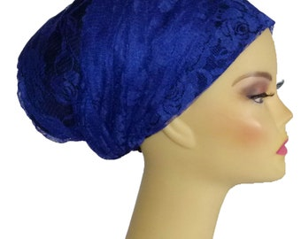 Bold royal blue no stretch rectangular tichel, scarf, mitpachat